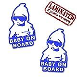 Skino 2 Stück Vinyl Aufkleber Autoaufkleber Stickers Baby on Board Kind Mit Sonnenbrille Sicherheit Auto Moto Motorrad Fahrrad Fenster Tür Tuning B 168