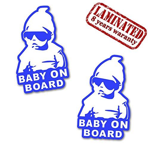 2 Stück Vinyl Aufkleber Autoaufkleber Stickers Junge Baby On Board Kind Sicherheit Auto Motorrad Fahrrad Fenster Tür B 168 (Zimmer-board)