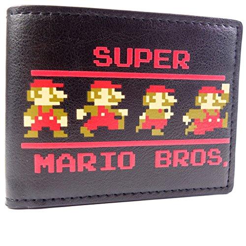 Nintendo Super Mario Bros Pixel 9-Bit Nero portafoglio