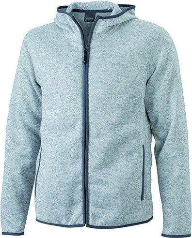 JN589 Men´s Knitted Fleece Hoody Kapuze Fleecejacke Hellgrau