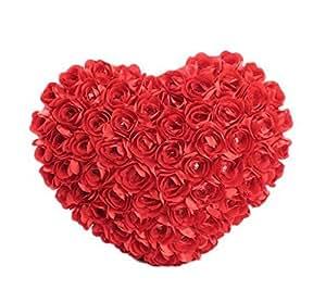 DAYAN Cotone Rose a forma di cuore cuscino di tiro iniziale Cushion-40 * 45cm Coppia Regali, Regali di Natale per lei, Carino Regali per Lei-Red Valentino