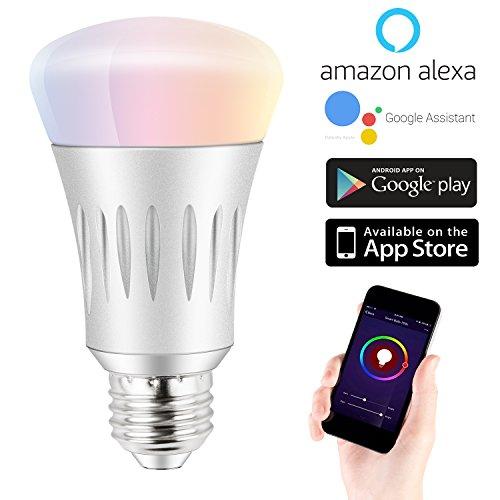 Expower WiFi Smart Glühbirne,7W Dimmbar Mehrfarbig RGB LED Birne E27 Lampe ändern Stimmung Licht Arbeit mit Smartphone,Tablet, Amazon Echo Alexa,Steuerbar via App