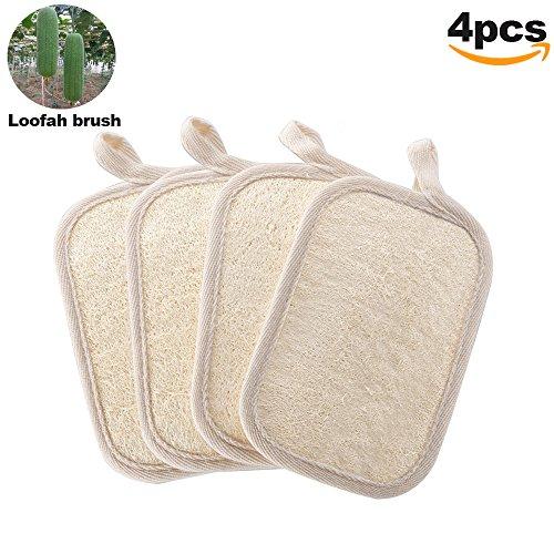 Exfoliating Loofah Scrubber für Dusche-4 Stück 100% natürlicher Loofah Schwamm von BIGWINNER