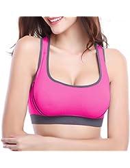 Mine Tom Mujer Sujetador Deportivo Push Up Bustier Con Amplio Correas Fitness Yoga Camisetas Sin Mangas