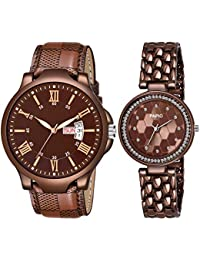 PAPIO Brown Color Day Date & Diamond Studded Men' Watches and Women's Watches Analog Couple Watch