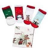 Minuya unisexe enfants hiver épais chaussettes de bande dessinée de Noël pour cadeau 4 paires