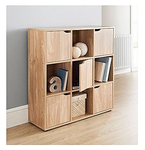 MDF Oak Finish 9 Cube Shelf Books CDs & DVDs Storage Unit 5 Doors 4 Open Cubes …