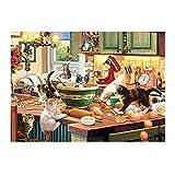 Twuky 5D DIY Perforación completa de la pintura del diamante, por el número de kits de artesanía y punto de cruz de costura, pegatinas de pared para la decoración de la sala de estar,Colección de gatos: alcaparras de cocina de gatitos(14X18inch/35X45CM)
