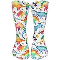 Catoon Dinosaur Sock Classic Fancy Design Multi Colorful Crew Knee High Socks Running Soccer Stockings