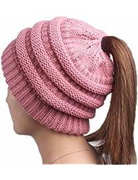 Boolavard BeanieTail Soft Stretch Cable Knit Messy High Bun Ponytail Beanie  Hat Cappello bd5022964290