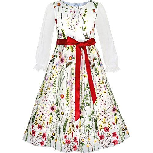 Mädchen Kleid Blume Bestickte Lange Ärmel Gr. 122 (Bestickte Mädchen-kleid)