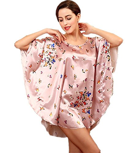 BigForest Femmes Short Batwing Sleeve Pyjama Satin Soie butterfly Peignoir robe set A pink