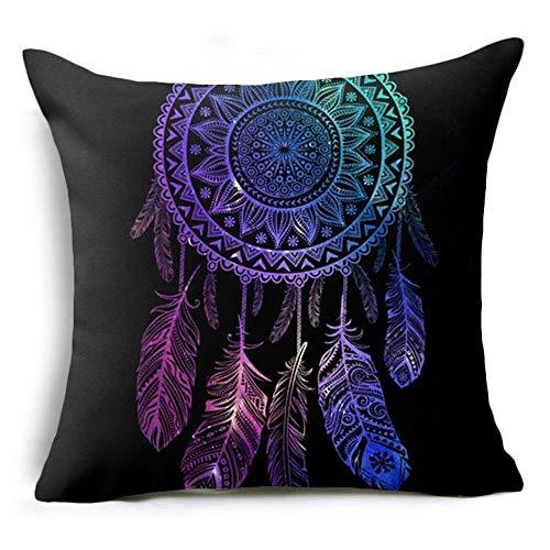 Wangji Duradero Suave Decorativo Funda de Almohada cojín para sofá Dormitorio Coche Fundas de cojín,4PACKS Azul atrapasueños imprimiendo 45 * 45CM