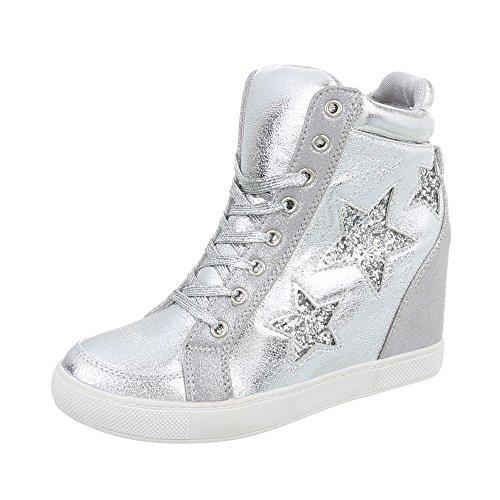 Ital-Design Sneakers High Damen-Schuhe Sneakers High Keilabsatz/Wedge Keilabsatz Schnürsenkel Freizeitschuhe Silber, Gr 40, Ll-72-