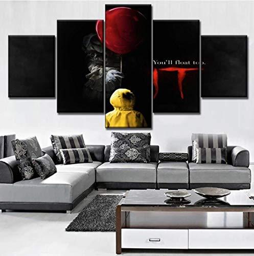 LCCWLH Leinwanddrucke 5 Stücke Clown Es Pennywise Scary Movie Poster Moderne Wohnzimmer Wandkunst Home Dekorative (Größe C) Kein Rahmen
