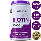 #2: Healthyhey Nutrition Biotin Maximum Strength 10000 Mcg + Vitamin C - 120 Vegetable Capsules