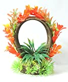 #6: Fish Tank Aquarium Coconut Shell Arch Décor with Red Plants
