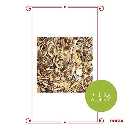 """norax Vogelhaus Futtersäule """"Zum Fliegenpilz"""" aus Metall inkl. 1 kg Vogelfutter (900215) - 3"""
