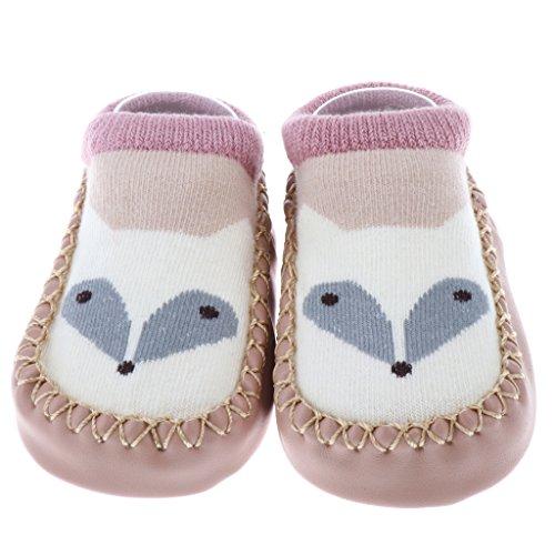 MagiDeal Antirutsch Babysocken lauflernschuhe Krabbelschuhe Babyschuhe Socken mit verschiedenen Motiven - Weißer Fuchs, (Weiße Schuhe Motiv)