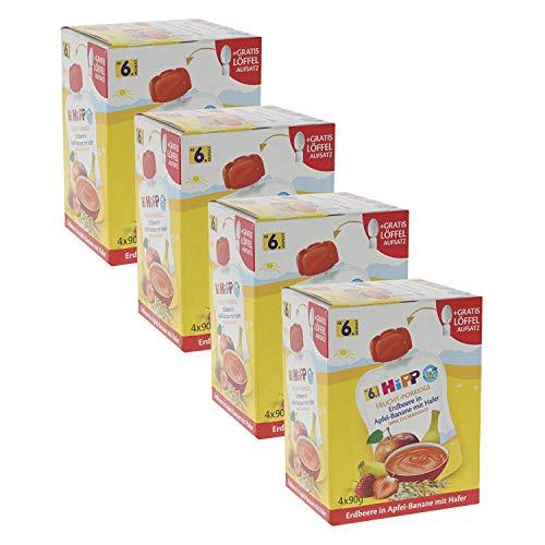 HiPP Quetschbeutel für Babys, Frucht-Porridge, Erdbeere in Apfel-Banane mit Hafer, 100% Bio-Früchte ohne Zuckerzusatz, 4 x 4 Beutel à 90 g -
