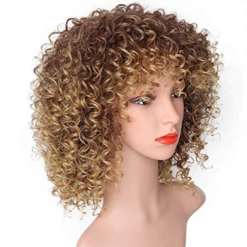 perücke locken blond kurz,Mode Sexy Damen Kurz Lockig Bernstein Blond Western Synthetik Haar Cosplay Perücke für Frauen-Colinsa