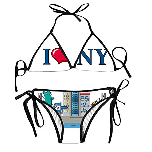 jingqi Women's Tie Side Bottom Push up Padded Top Triangle Tea Guinea Pig Pattern Bikini Bathing Suit - Kabel Womens Tie