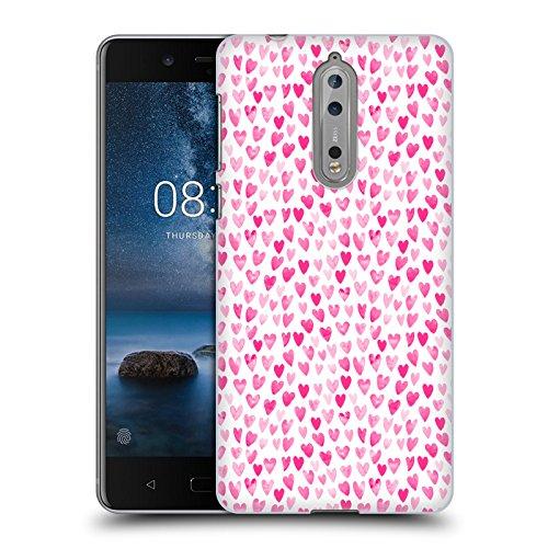 Offizielle Charlotte Winter Aquarell Herzen Verschiedene Muster Ruckseite Hülle für Nokia 8