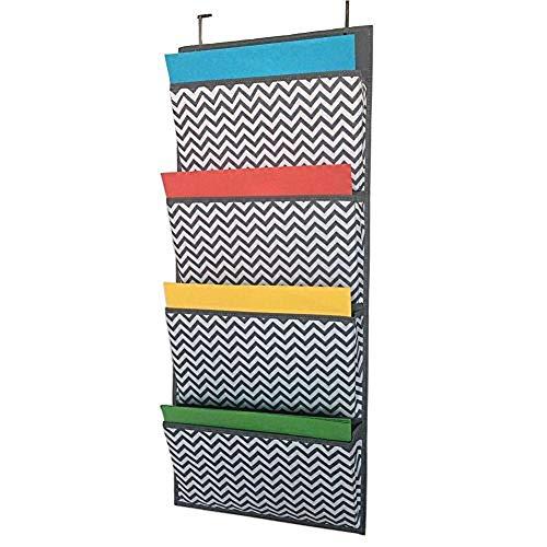 CYACC Über der Tür hängende Datei Organizer Büro Arbeitszimmer Wandbehang Lagerung für Magazine Notebooks Planer A4 Dateiordner 4 an der Wand montierte Taschen (Hängende Wand Datei-organizer)