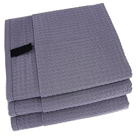 3x Geschirrtücher / Tücher aus 100% Baumwolle Waffel-Piqué in Grau