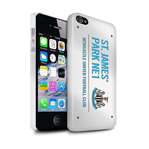 Offiziell Newcastle United FC Hülle / Glanz Snap-On Case für Apple iPhone 4/4S / Pack 6pcs Muster / St James Park Zeichen Kollektion Weiß/Blau