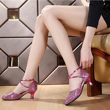 XIAMUO Anpassbare Frauen Gummisohle satin Schuhe Modern/Salsa/Latin/Swing Schuhe Ferse schwarz Latin Dance Sneakers/Tap Rot