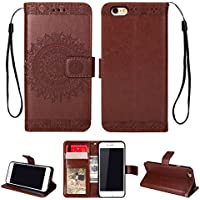Yobby Leder Brieftasche Hülle für iPhone 6, iPhone 6S Braun Handyhülle Geprägt Mandala Muster Schlank Premium... preisvergleich bei billige-tabletten.eu