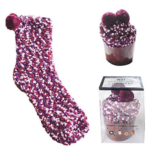 Cupcake Socken Damen Mädchen Socken Kuschelsocken Weiche Warme Flauschige Wintersocken mit Geschenkbox für Frauen Weihnachts Geschenk Haussocken