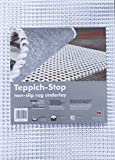 Teppich-Stop Antirutschmatte Teppichgleitschutz Teppichunterlage Haftgitter Rutschschutz, PVC beschichtetes Polyester, rutschhemmend zuschneidbar pflegeleicht strapazierfähig, weiß, 80 x 150 cm