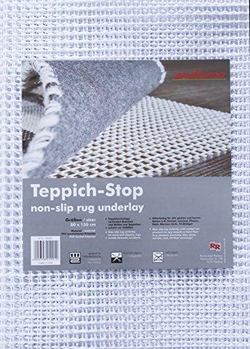 andiamo Teppich-Stop Antirutschmatte Teppichgleitschutz Teppichunterlage Haftgitter Rutschschutz, PVC beschichtetes Polyester, rutschhemmend zuschneidbar pflegeleicht strapazierfähig, weiß, 80 x 150 cm