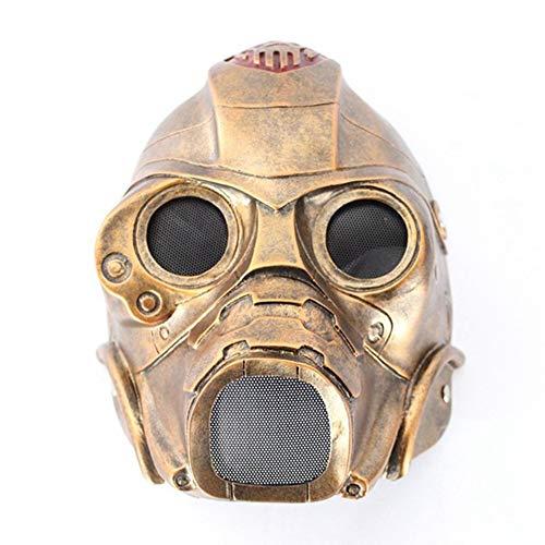 HS-QFQ Taktischer Helm Halloween Cosplay Maske ABS Fahrradhelm Terror Radiation 3 Easter Ghost Gesichtsschutz,Brass