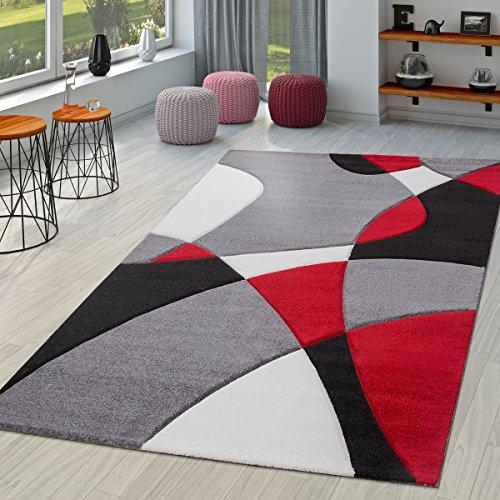 TT Home Tapis Moderne Salon Abstrait Découpe des Contours en Noir Gris  Rouge, Dimension:240x330 cm