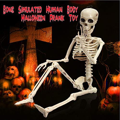 QHJ Halloween Accessoires, Lustiges Spielzeug der Halloween Skelettskelett Partei Gruselige Menschliche Ossature Schädel Figur Beängstigend Halloween Ossature Prop Party Spielzeug (Weiß)