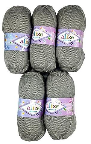 5 x 100g Strickwolle Alize Bebe grau Nr. 594, 500 Gramm Wolle zum Stricken und Häkeln