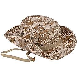 Leisial Sombrero Estampado De Camuflaje del Ejército de ala Ancha Borde Redondo Anti-UV Algodón Outdoor Acampada Senderismo Deporte al Aire Libre Gorra Montaña para Adulto Unisexo (#5)