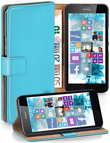 moex® Booklet mit Flip Funktion [360 Grad Voll-Schutz] für Nokia Lumia 630   Geldfach und Kartenfach + Stand-Funktion und Magnet-Verschluss, Türkis (Sim-karte Für Nokia Lumia 635)