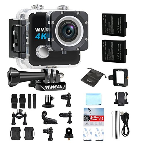 WiMiUS L1 Action Cam 4K Actioncam Wifi Action Kamera 20MP HD Action Camera 170° Weitwinkel 2 Zoll 30M Wasserdichte Sport Camera mit 2 Akkus