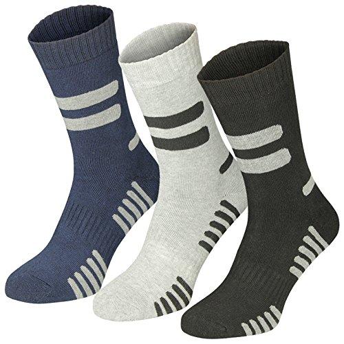 Lavazio 6 | 12 | 18 | 24 Paar Herren Arbeitssocken Sportsocken Thermo Socken dick & herrlich schwarz/grau, mehrfarbig, grau/blau Töne, Größe:43-46, Farbe:schwarz/grau