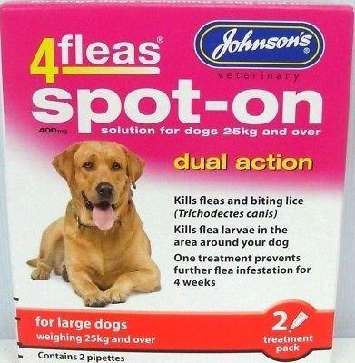 Johnson's 4 Fleas Spot On Dog Dual Action Kills Fleas Flea Larvae Biting Lice (Large Dogs 25kg +) by John-sons