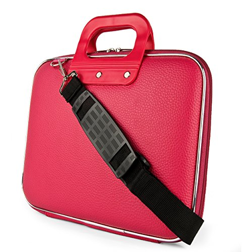 SumacLife Cady Collection Carry Bag Briefcase with Removable Shoulder Strap for Nexian Chromebook 11.6in Laptop (Hot Pink)