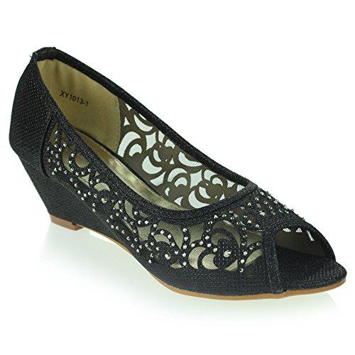 Femmes Dames Peeptoe Diamante Talon Compensé Soirée Mariage Enfiler Sandale Chaussures Taille Noir