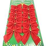 HENGSONG 12er Set Weihnachtsbaum Deko Weihnachtsdeko Bow Party Garden Dogen Dekor Weihnachtsverzierung (Rot)