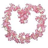 BlueXP 2 Stück 180cm Künstliche Girlande Vines Kirschblüten Blume Hängend Sakura Rattan Dekor Girlande Floriation Home Garten Weihnachten Festival Hochzeit Party Hochzeit Dekor Rosa