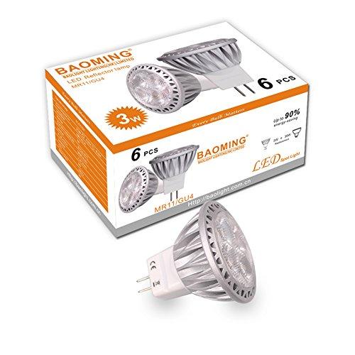 BAOMING GU4 MR11 35mm Durchmesser 3Watt,AC/DC 12V LED Lampe 35W Gluhlampe 250lm Warmweiße Farbtemperatur 2700K LED Leuchtmittel ersetzt 35 Watt Halogen Punktbeleuchtung 6er Pack -