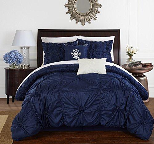 Chic Home cs1444-an 'El HALPERT Floral Pinch Falte Rüschen Design-verziert Queen Tröster Set, 6-teilig, navy